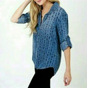 Cloth and Stone Blue Feldspar Button Front Shirt L